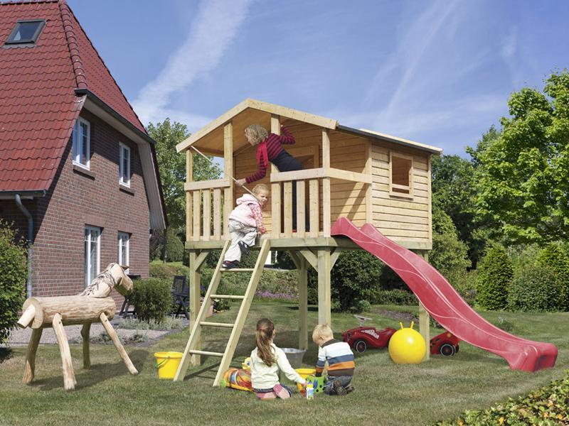 Woodfeeling Stelzenhaus Benjamin im Set mit Rutsche 3 m rot - naturbelassen