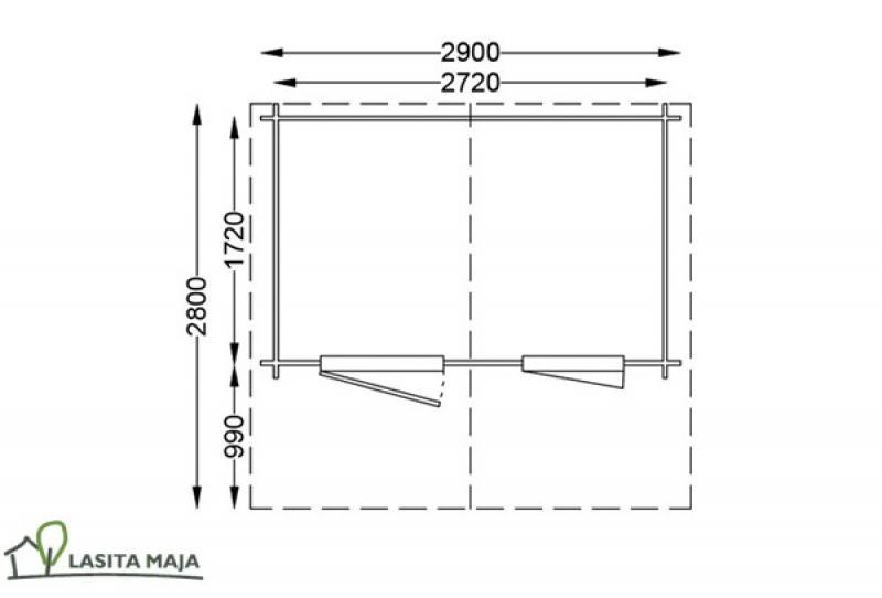 Lasita Maja Gartenhaus Blockbohlenhaus Satteldach Noha 172 inkl. Dachpappe