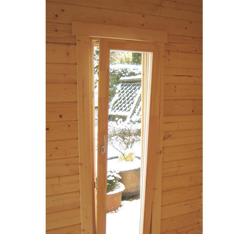 Wolff Finnhaus Holz-Gartenhaus Katrin 58 mm B - 5-Eck-Holz-Gartenhaus mit roten  Holz-Gartenhaus Dachschindeln und schwarze Dachhaube