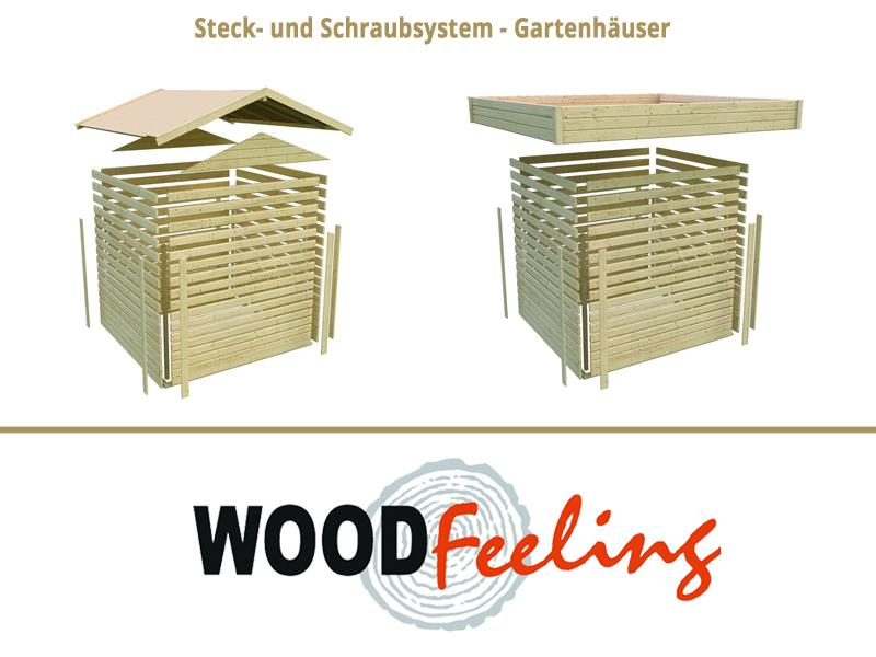 Woodfeeling Karibu Holz Gartenhaus Kandern 6 im Set mit Anbaudach 2,95 m Breite in naturbelassen (unbehandelt)