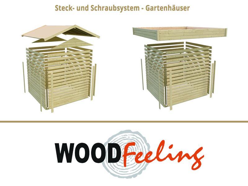 Sonderangebot: Woodfeeling Holz-Gartenhaus: Northeim 3 im Set mit einem Anbaudach Breite 4 m und 28mm Seiten- und Rückwand - 40 mm Pultdach -  opalgrau