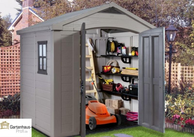 Tepro Kunststoff Gerätehaus Gartenhaus Factor 8x6   taupe beige