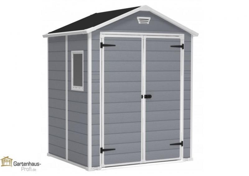 Tepro Kunststoff-Gerätehaus Gartenhaus Manor 6x5DD - grau-weiß