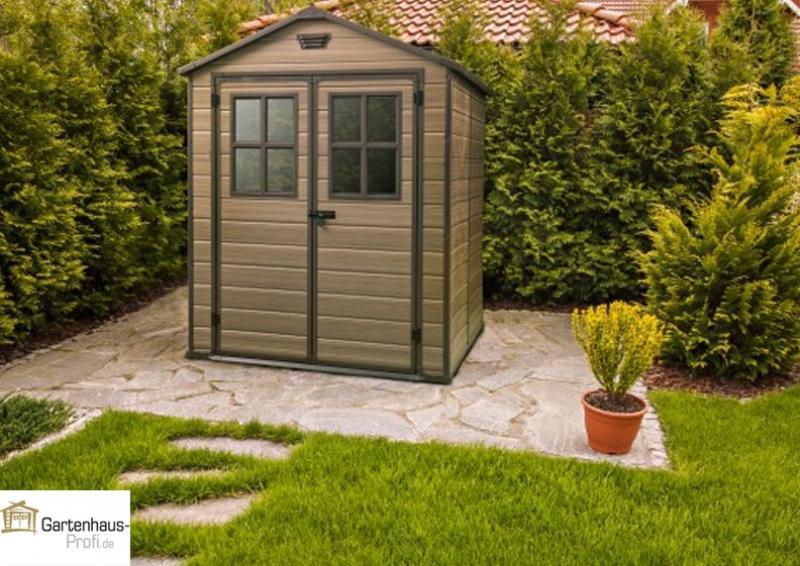 Tepro Kunststoff-Gerätehaus Gartenhaus Scala 6x8 DD - hellbraun
