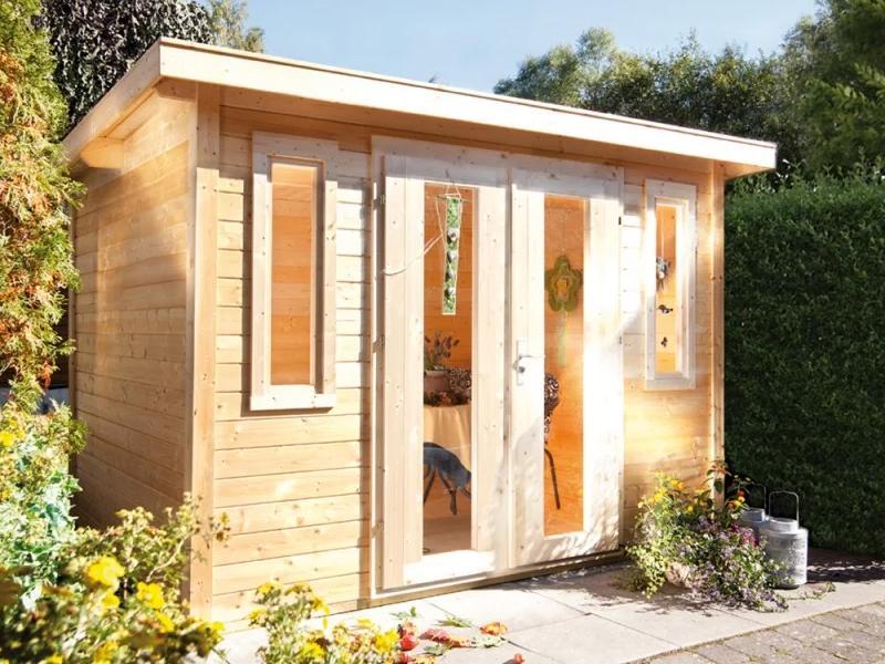 Wolff Finnhaus Gartenhaus Flachdachgartenhaus aus Holz Pulti 28mm  moderna B