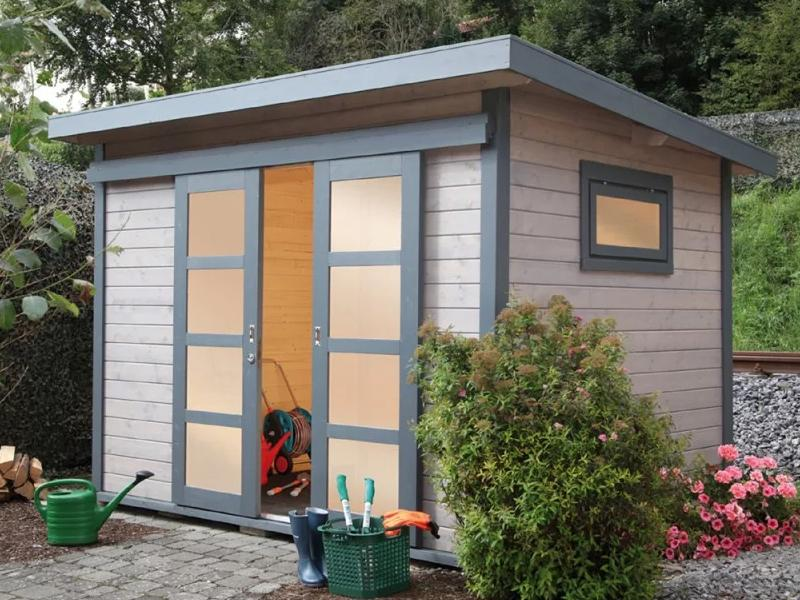 Wolff Finnhaus Holz-Gartenhaus Flachdach Gartenhaus aus Holz  Pulti 28mm 28 ST-B