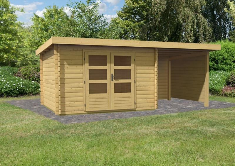Woodfeeling Gartenhaus Pultdach Bastrup 5   28 mm mit 2 m