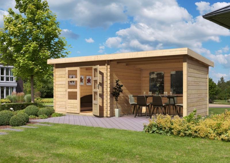 Woodfeeling Gartenhaus Pultdach Bastrup 4 - 28 mm - 3 m Schleppdach inkl. Seiten- und Rückwand