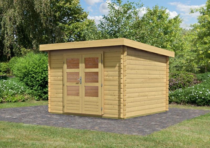 Woodfeeling Gartenhaus Pultdach Bastrup 5   28 mm Blockbohlen