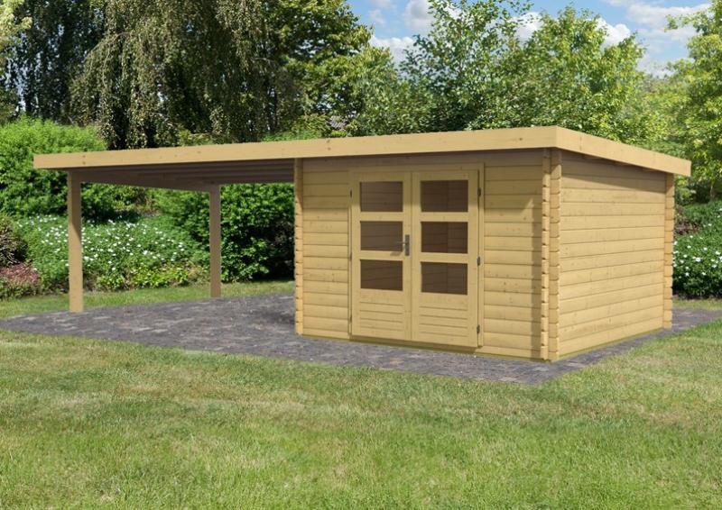 Karibu Woodfeeling Holz-Gartenhaus Pultdach Bastrup 5 - 28 mm mit 4 m Schleppdach