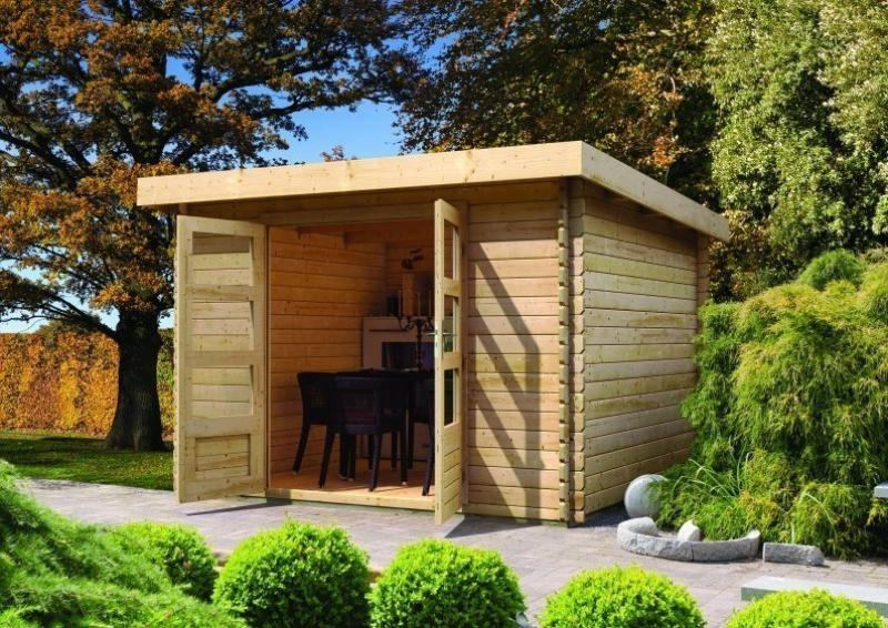 Woodfeeling Gartenhaus Pultdach Bastrup 4 - 28 mm Blockbohlen - mit 3 m Schleppdach