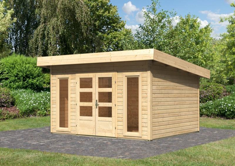 Woodfeeling Gartenhaus Flachdach Northeim 4 - 40 mm System - naturbelassen