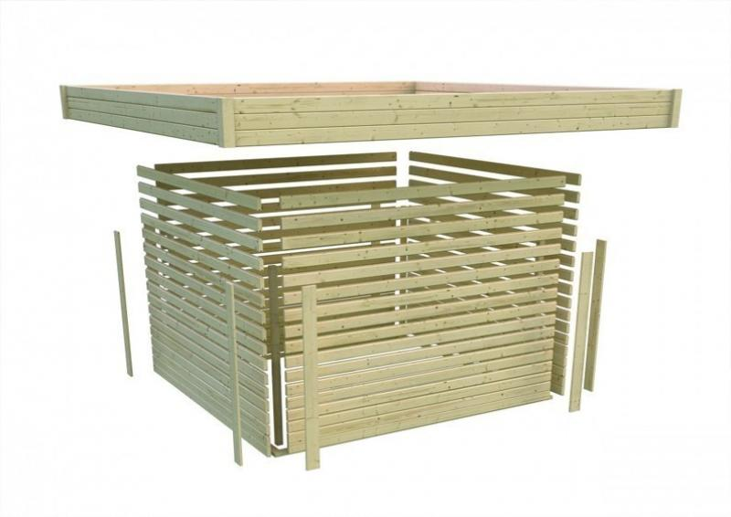 Woodfeeling Gartenhaus Flachdach Northeim 4 - 40 mm System - opalgrau