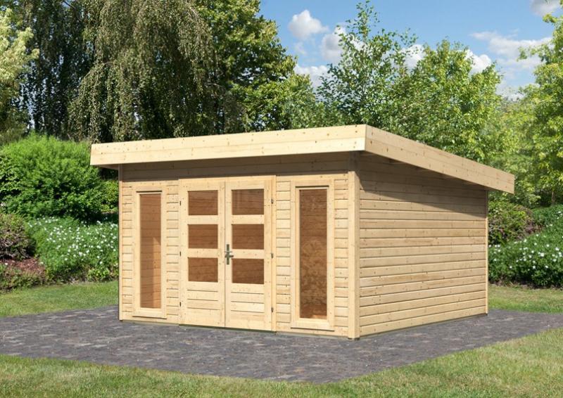 Woodfeeling Gartenhaus Flachdach Northeim 5 - 40 mm System - naturbelassen