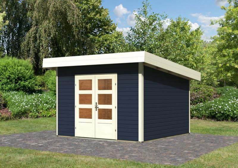 Woodfeeling Holz-Gartenhaus Flachdach Northeim 3 - 40 mm System - opalgrau
