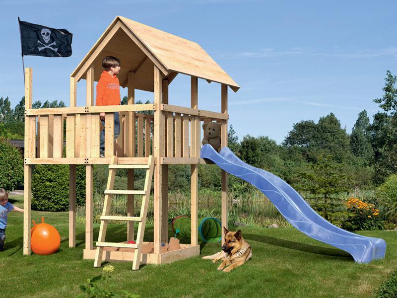 Woodfeeling Spielturm Daniel mit Satteldach im Set mit Anbau und Rutsche blau 2,5 m - naturbelassen