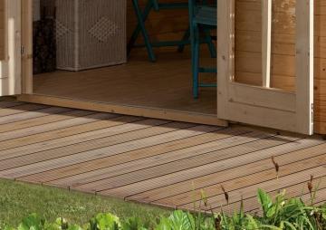 Komplett-Set: Karibu Terrassendiele Holzdiele Douglasie Classic - 14,4 qm inkl. Unterkonstruktion