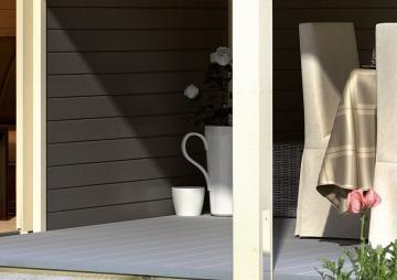 Komplett-Set: Karibu Terrassendiele WPC Silver Cedar Premium - 12,1 qm inkl. Unterkonstruktion
