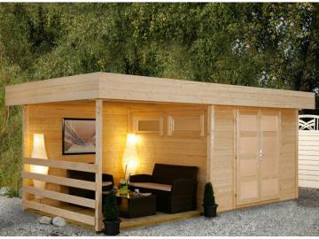 Wolff Finnhaus Holz-Gartenhaus Varianta B mit Seitendach, Rückwand und Terrassenfußboden 250 cm