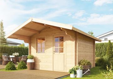 Wolff Finnhaus Holz-Gartenhaus aus Holz 44mm Blockbohlenhaus Skagen 44-B