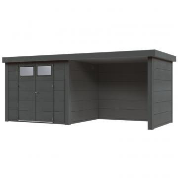Wolff Finnhaus Metall-Gartenhaus Eleganto 3024 mit Lounge Rechts Granitgrau Wandmaß: 596 x 238