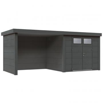 Wolff Finnhaus Metall-Gartenhaus Eleganto 3024 mit Lounge Links Granitgrau Wandmaß: 596 x 238