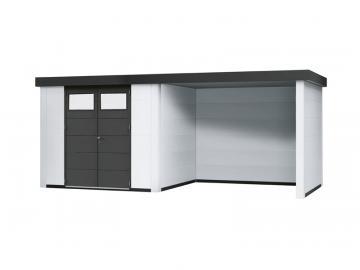Wolff Finnhaus Metall-Gartenhaus Eleganto 2424 mit Lounge Rechts Weiß Wandmaß: 536 x 238