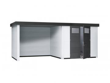Wolff Finnhaus Metall-Gartenhaus Eleganto 2424 mit Lounge Links Weiß Wandmaß: 536 x 238