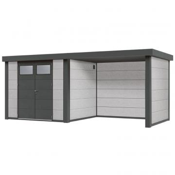 Wolff Finnhaus Metall-Gartenhaus Eleganto 2424 mit Lounge Rechts Dekorputz Wandmaß: 536 x 23