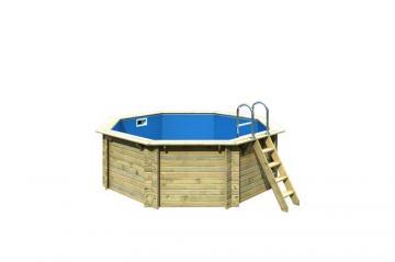 Karibu Pool Holz Swimmingpool Achteck Modell A1  400 x 400 cm - kdi - ohne Sonnenterasse