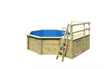 Karibu Pool Holz Swimmingpool Achteck Modell C1  400 x 480 cm - kdi - inkl. Sonnenterrasse