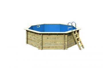Karibu Pool Holz Swimmingpool Achteck Modell A2  470 x 470 cm - kdi - ohne Sonnenterrasse