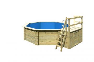 Karibu Pool Holz Swimmingpool Achteck Modell B2  470 x 550 cm - kdi - inkl. Sonnenterrasse