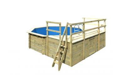 Karibu Pool Holz Swimmingpool Achteck Modell D2  470 x 550 cm - kdi - inkl. Sonnenterrasse