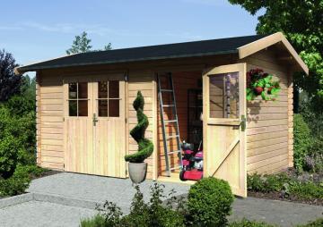 Woodfeeling Gartenhaus Wetrup 2 Satteldach 28 mm Blockbohlenhaus Mittelwand - natur