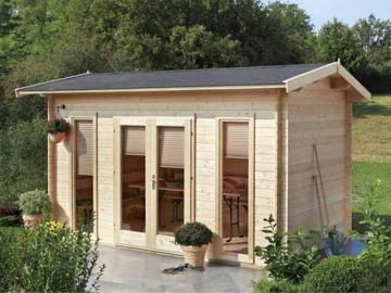 Wolff Finnhaus modernes Holz Holz-Gartenhaus Satteldach Helgoland 28 mm A - Blockbohlenhaus