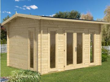 Wolff Finnhaus modernes Holz Holz-Gartenhaus Satteldach Helgoland 40 mm B - Blockbohlenhaus