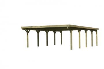Angebot: Karibu Flachdach-Doppelcarport Holz mit integr. Abstellraum, H-Pfostenanker und Dachrinne PVC - kdi