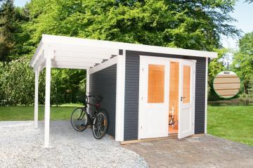 Wolff Finnhaus Holz-Gartenhaus Flachdach Gartenhaus aus Holz Pulti 28mm  Softline 3030 Anthr. mit SD 300