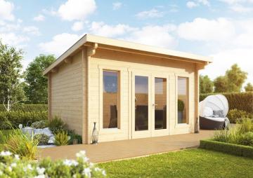 Wolff Finnhaus Holz-Gartenhaus aus Holz Flachdach 70mm Trondheim 70-A XL (extra hohe Türe) (2018) mit Wolff Finnhaus Holz-Gartenhaus Dachpappe -
