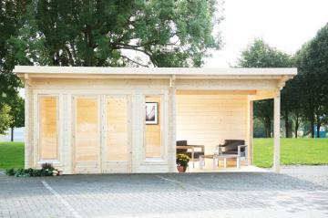 Wolff Finnhaus Holz-Gartenhaus aus Holz Flachdach 70mm Trondheim 70-A XL (extra hohe Türe) mit SD 300 Rechts