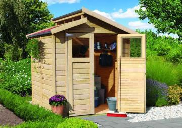 Woodfeeling Gartenhaus Thurgau 3 Satteldach 14 mm System - natur