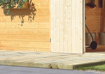 Komplett-Set: Karibu Terrassendiele Holzdiele Kiefernholz ECO kdi - 9,9 qm inkl. Unterkonstruktion