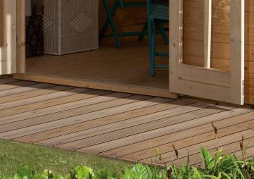 Komplett-Set: Karibu Terrassendiele Holzdiele Douglasie Classic - 8,6 qm inkl. Unterkonstruktion
