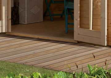 Komplett-Set: Karibu Terrassendiele Holzdiele Douglasie Classic - 9,9 qm inkl. Unterkonstruktion