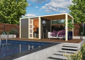 Karibu Holz-Gartenhaus Sparset Cubini 19 mm terragrau, inkl.selbstklebende Premium-Aluminiumfolie + Anbaudach 2,40 m breit