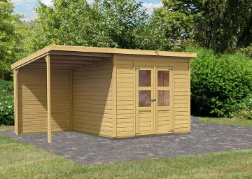 Sonderangebot: Karibu Holz-Gartenhaus Merseburg 6 im Set mit Anbaudach und Rückwand - 14 mm Pultdach im Steck- und Schraubsystem  - naturbelassen