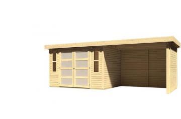 Sonderangebot: Karibu Gartenhaus Mühlendorf 4  im Set mit Anbaudach 2,60 m Breite und 19 mm Seiten- und Rückwand - naturbelassen