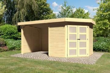 Sonderangebot: Karibu Holz-Gartenhaus Goldendorf 3  im Set mit Anbaudach  2,20 m Breit und 19 mm Seiten- und Rückwand - 19 mm Flachdach Schraub- Stecksystem - naturbelassen