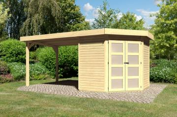 Sonderangebot: Karibu Holz-Gartenhaus Goldendorf 3  im Set mit Anbaudach  2,60 m Breit - 19 mm Flachdach Schraub- Stecksystem - naturbelassen